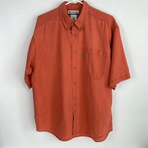 Columbia Button Down Collared Short Sleeve Shirt L